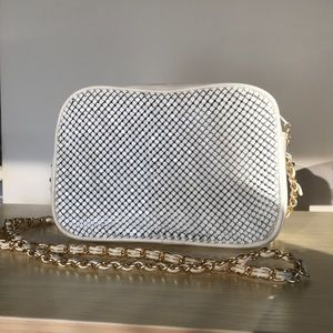 Vintage White Gold Chain Metal Shoulder Bag Chanel